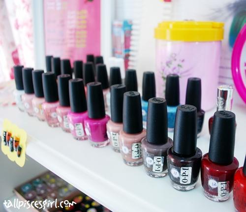 A variety of nail polish on display