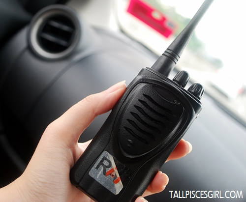 All communications are via walkie talkie! It's kinda fun!!