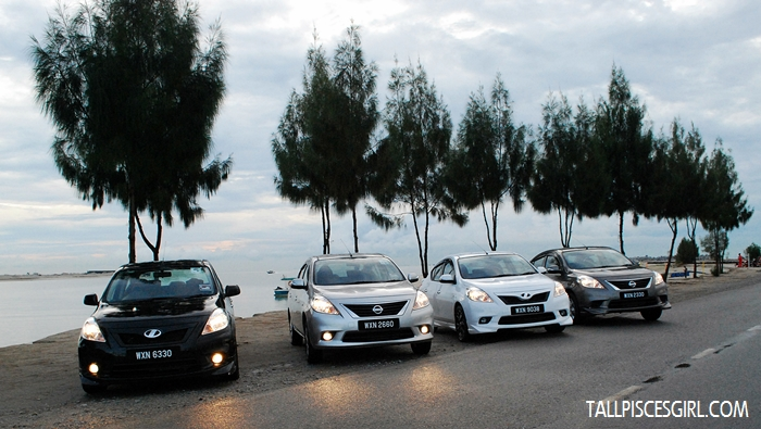 4 out of 5 Nissan ALMERA in the convoy all lined up at D-Paradise, Pantai Klebang