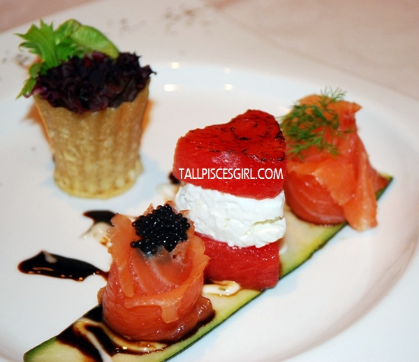 Smoked Salmon Rose Served with Honey Mustard Dressing and Feta Cheese &  Grilled Watermelon With Balsamic Glazed