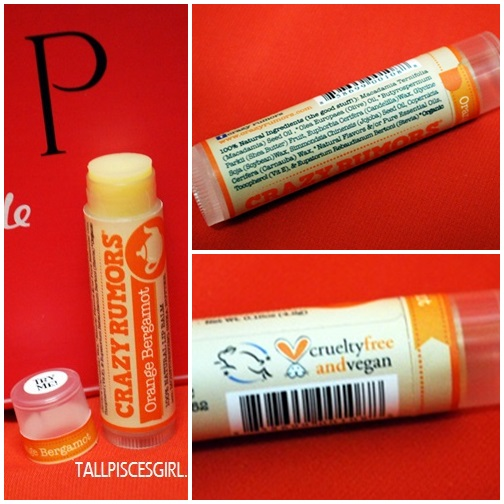 Packaging and ingredients of Crazy Rumors Lip Balm