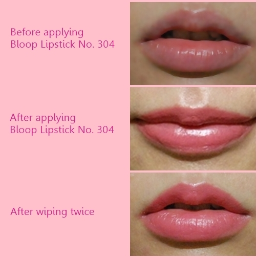 Before and after bloop Candy Lipstick 304 application
