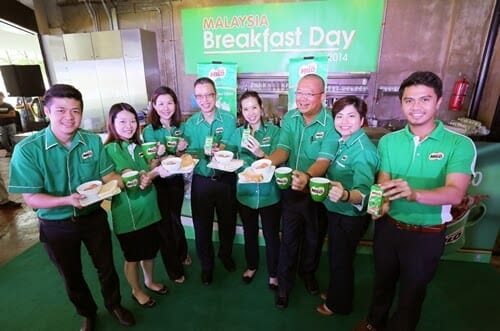 The Nestle MILO team serves a healthy breakfast accompanied with a nutritious mug of MILO