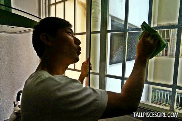 Wipe away, revealing streak-free shiny window! Clumsy Boy is feeling super accomplished LOL!