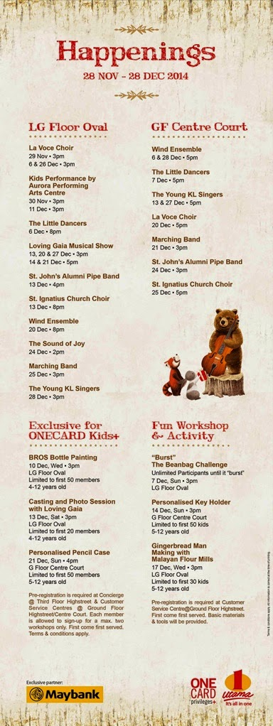1 Utama Christmas performances and activity schedule